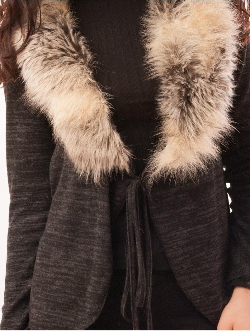 Cardigan Dama Cu Guler Din Blanita Fox Negru