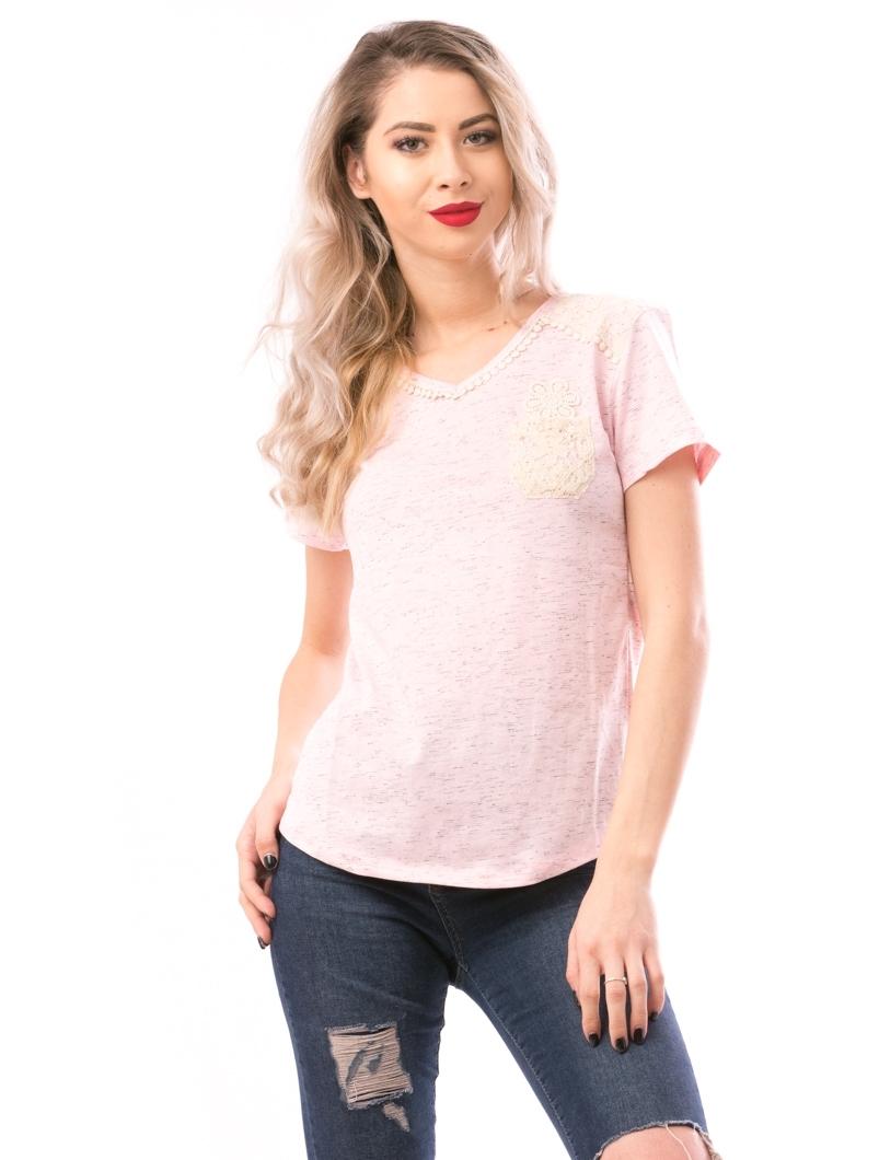 Tricou Dama MissySoftFlower Roz si Crem