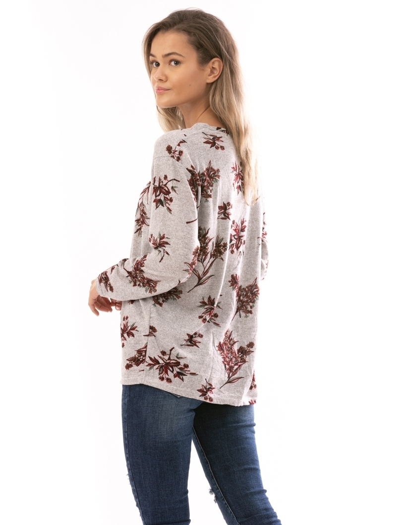 Bluza Dama AutumFlower Gri Maro Bordo Verde