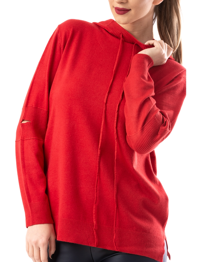 Hanorac Dama SimpleKnitted Rosu