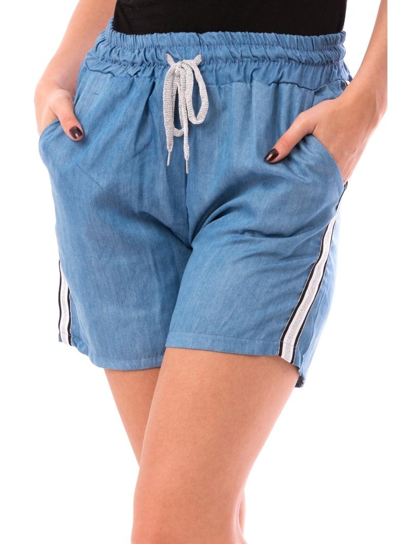 Pantaloni Dama ShortLine Albastru Alb Negru Si Argintiu