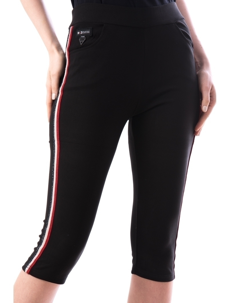 Pantaloni Dama Trei Sferturi Krems Negru