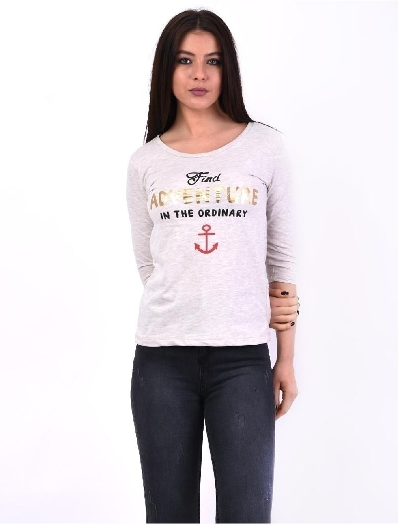 Bluza Dama Cu Imprimeu Find Adventure Bej