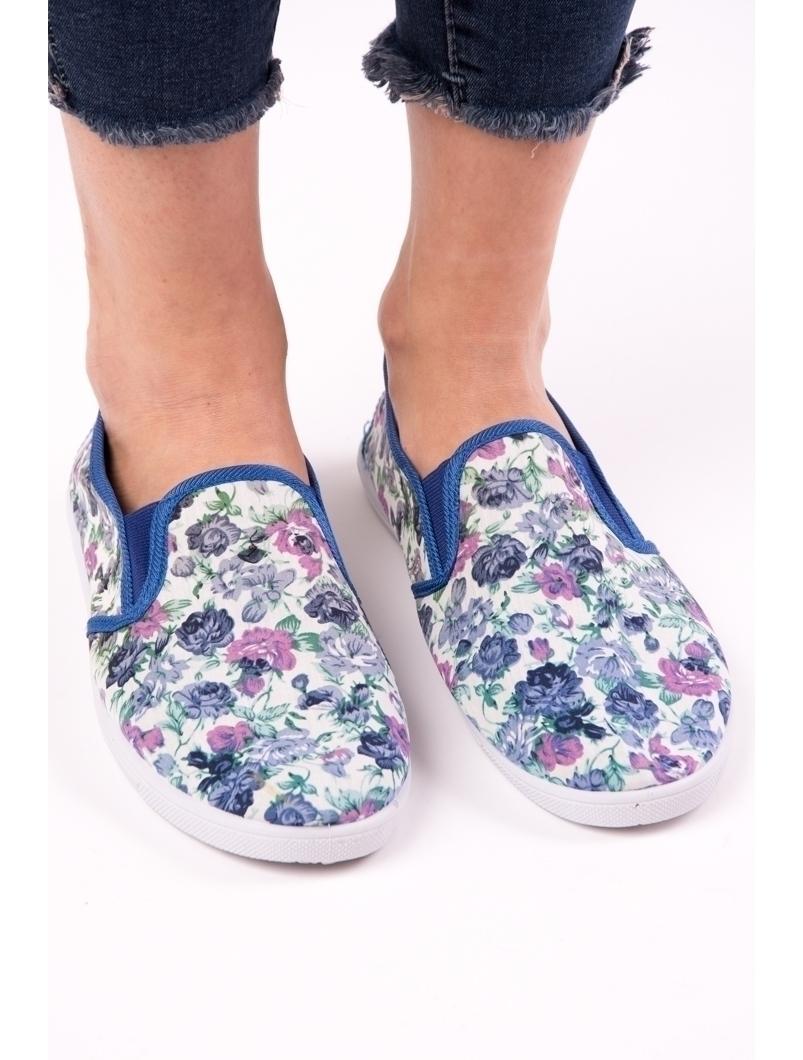 Espadrile Dama Cu Imprimeu Floral Loyal Alb Si Albastru