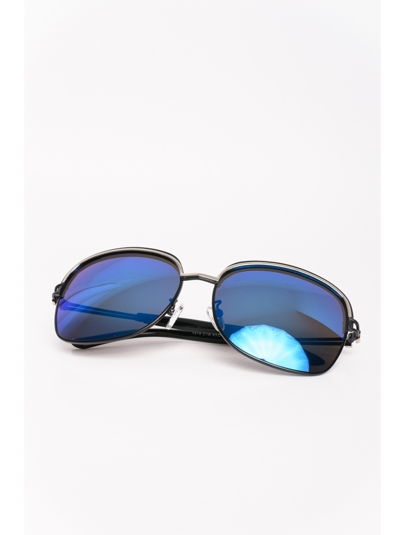 Ochelari De Soare Dama Cu Lentila Oglinda Spring Lover Negru Si Albastru
