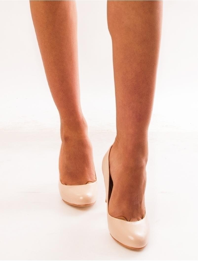 Pantofi Dama  Cu Toc Accent Bej