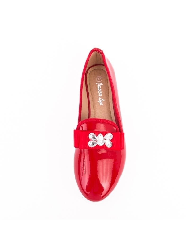 Pantofi Dama De Lac Cu Pietricele Pebbles Rosu