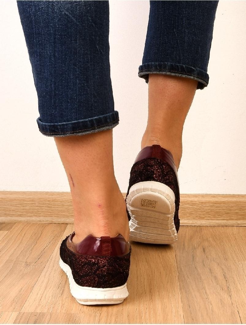 Pantofi Dama Casual Cu Dantela Stralucitoare Sunny Grena