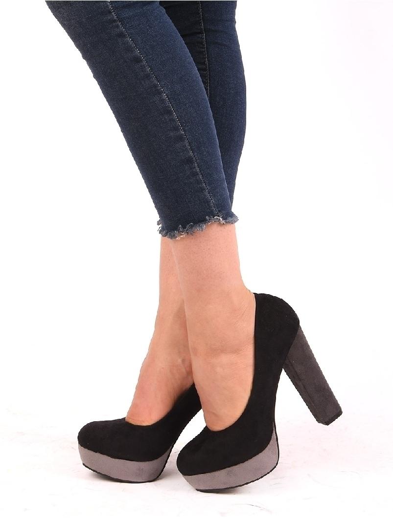 Pantofi Dama Cu Platforma Si Toc Gros Bamboo Negri