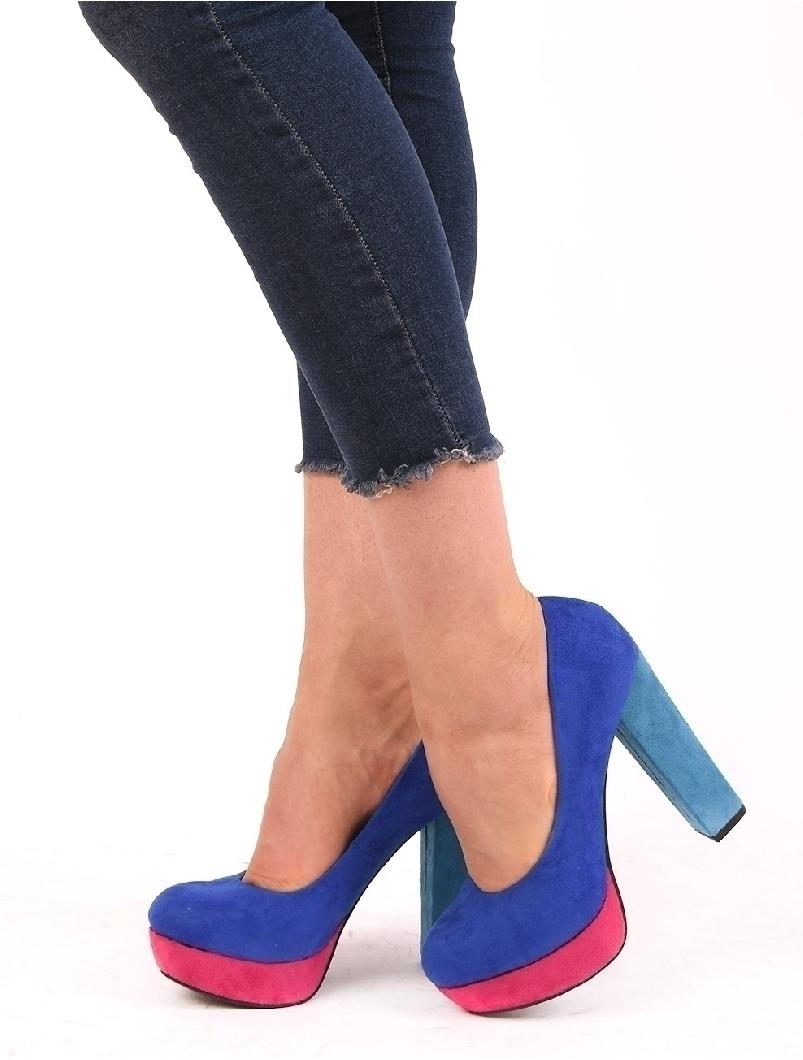 Pantofi Dama Cu Platforma Si Toc Gros Bamboo Mov Si Roz