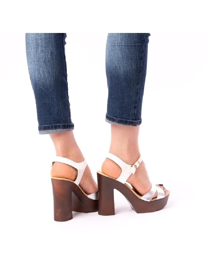 Sandale Dama Cu Toc Mare Jules Argintii