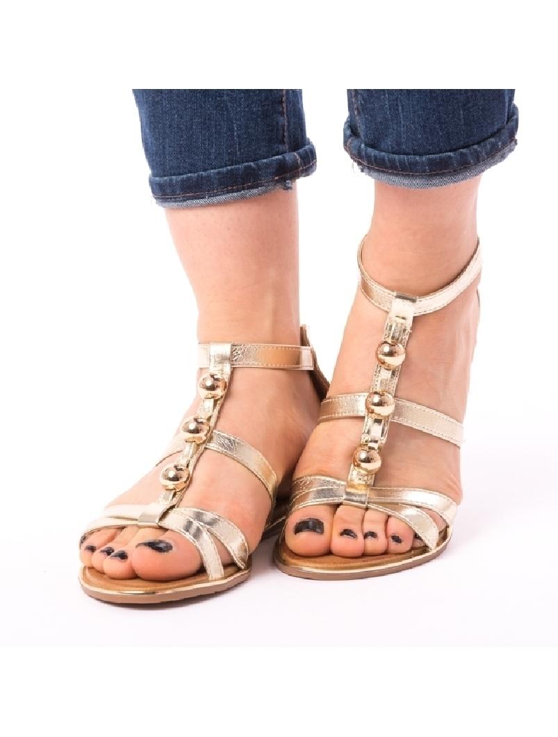 Sandale Dama Cu Bulbi Fity Aurii