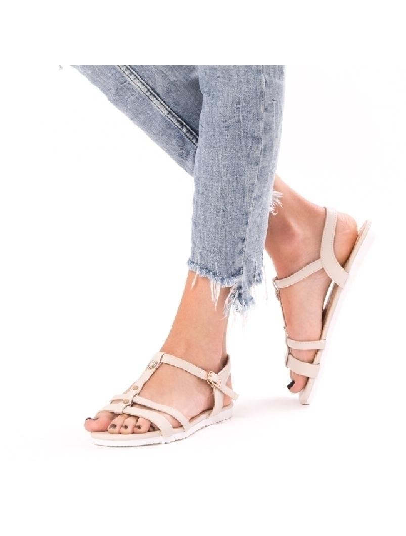 Sandale Dama Cu Barete Si Strasuri Lisa Bej