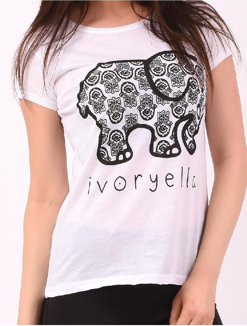 Tricou Dama Cu Imprimeu Elefant Ivoryella Alb