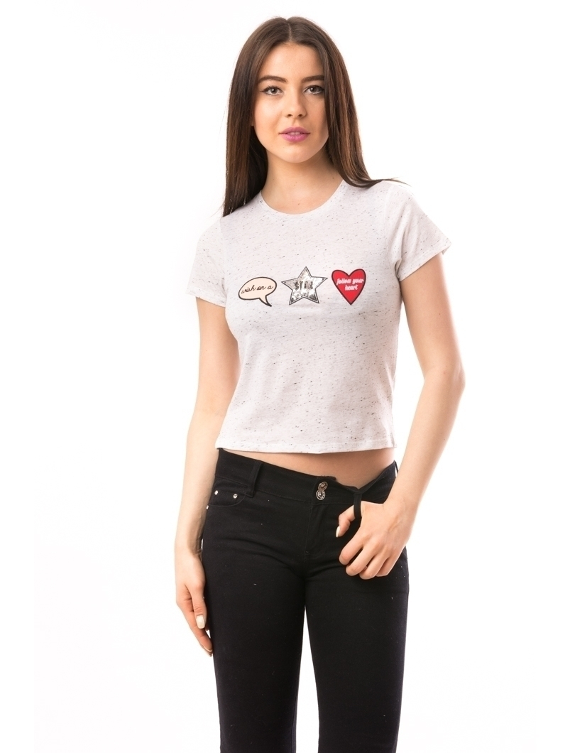 Tricou Dama Cu Aplicatii Follow Your Heart Alb