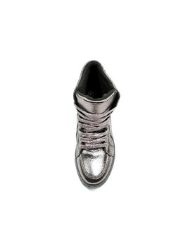 Sneakers Dama Cu Siret Si Platforma HighLander Gri Metalizat -2