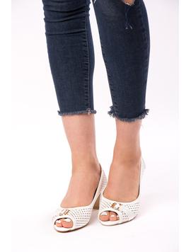 Pantofi Dama Cu Toc Gros Dandelion Albi-2