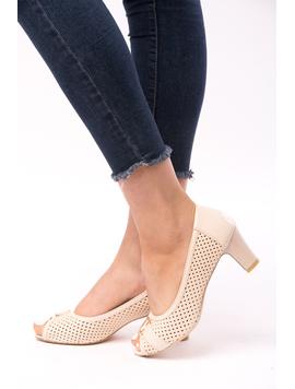 Pantofi Dama Cu Toc Gros Dandelion Bej
