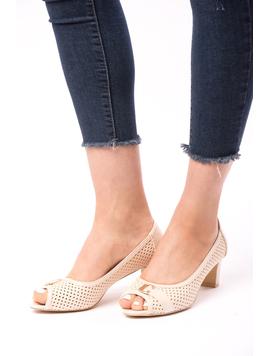 Pantofi Dama Cu Toc Gros Dandelion Bej-2