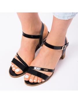 Sandale Dama Cu Toc Mic Sarah Negre