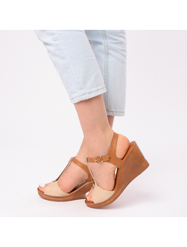 Sandale Dama Cu Platforma Nadia Bej