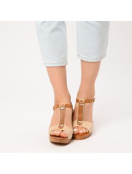 Sandale Dama Cu Platforma Nadia Bej-2