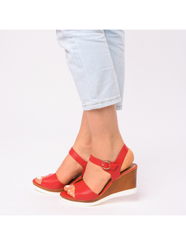 Sandale Dama Cu Platforma Erika Rosii