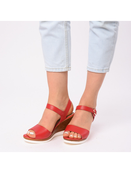 Sandale Dama Cu Platforma Erika Rosii-2