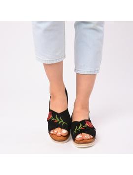Sandale Dama Cu Broderie Silvia Negre-2