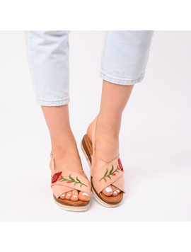 Sandale Dama Cu Broderie Silvia Roz
