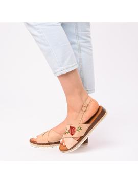 Sandale Dama Cu Broderie Silvia Bej