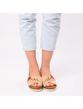 Sandale Dama Cu Broderie Silvia Bej-2