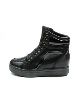 Sneakers Dama Cu Siret Si Platforma HighLander Negru