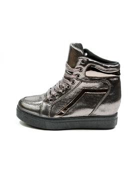 Sneakers Dama Cu Siret Si Platforma HighLander Gri Metalizat