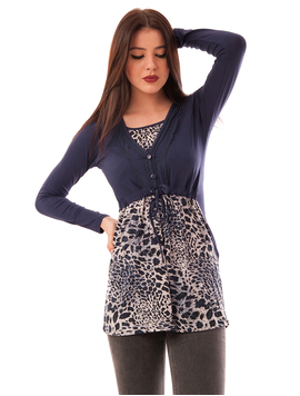 Bluza Dama Cu Model Animal Print Buttons Bleumarin