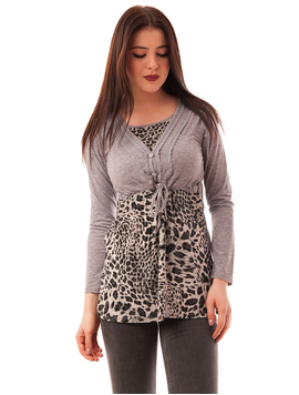 Bluza Dama Cu Model Animal Print Buttons Gri