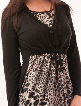 Bluza Dama Cu Model Animal Print Buttons Neagra-2