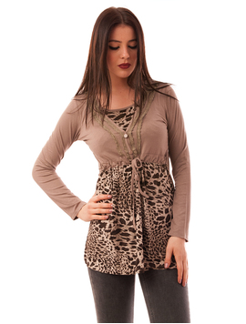 Bluza Dama Cu Model Animal Print Buttons Maro