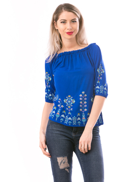 Ie Dama ShortTradition Albastru Electric Bleu Roz Si Galben