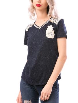 Tricou Dama MissySoftFlower Bleumarin si Crem-2