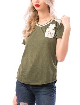 Tricou Dama MissySoftFlower Kaki si Crem-2