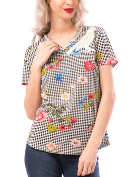 Tricou Dama TrendyPearl Negru Alb si Rosu-2