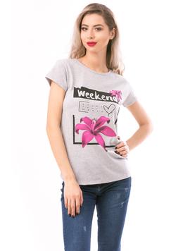 Tricou Dama WeekendDream Gri si Roz