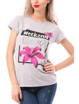Tricou Dama WeekendDream Gri si Roz-2