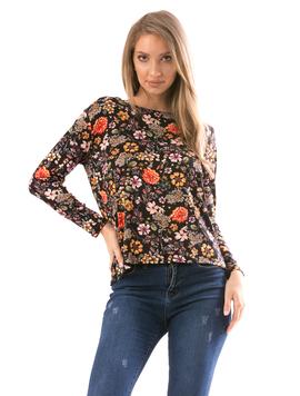 Bluza Dama FlowerShower Negru si Caramiziu