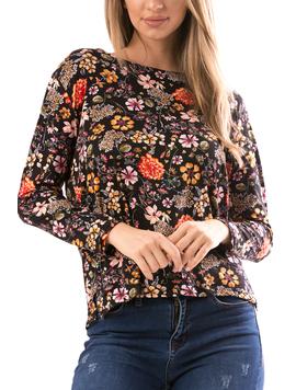 Bluza Dama FlowerShower Negru si Caramiziu-2