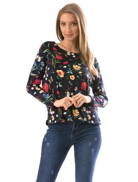Bluza Dama FlowerShower Negru si Galben