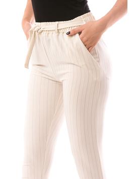 Pantaloni dama FreshOn Crem Si Gri-2