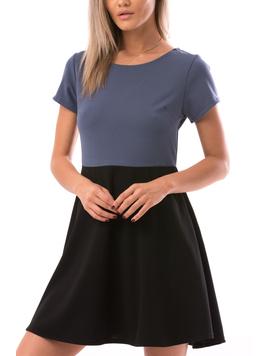 Rochie Dama TwoColor Bleu si Negru-2