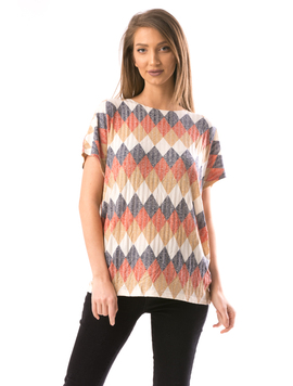 Tricou Dama MultiDiamonds Crem